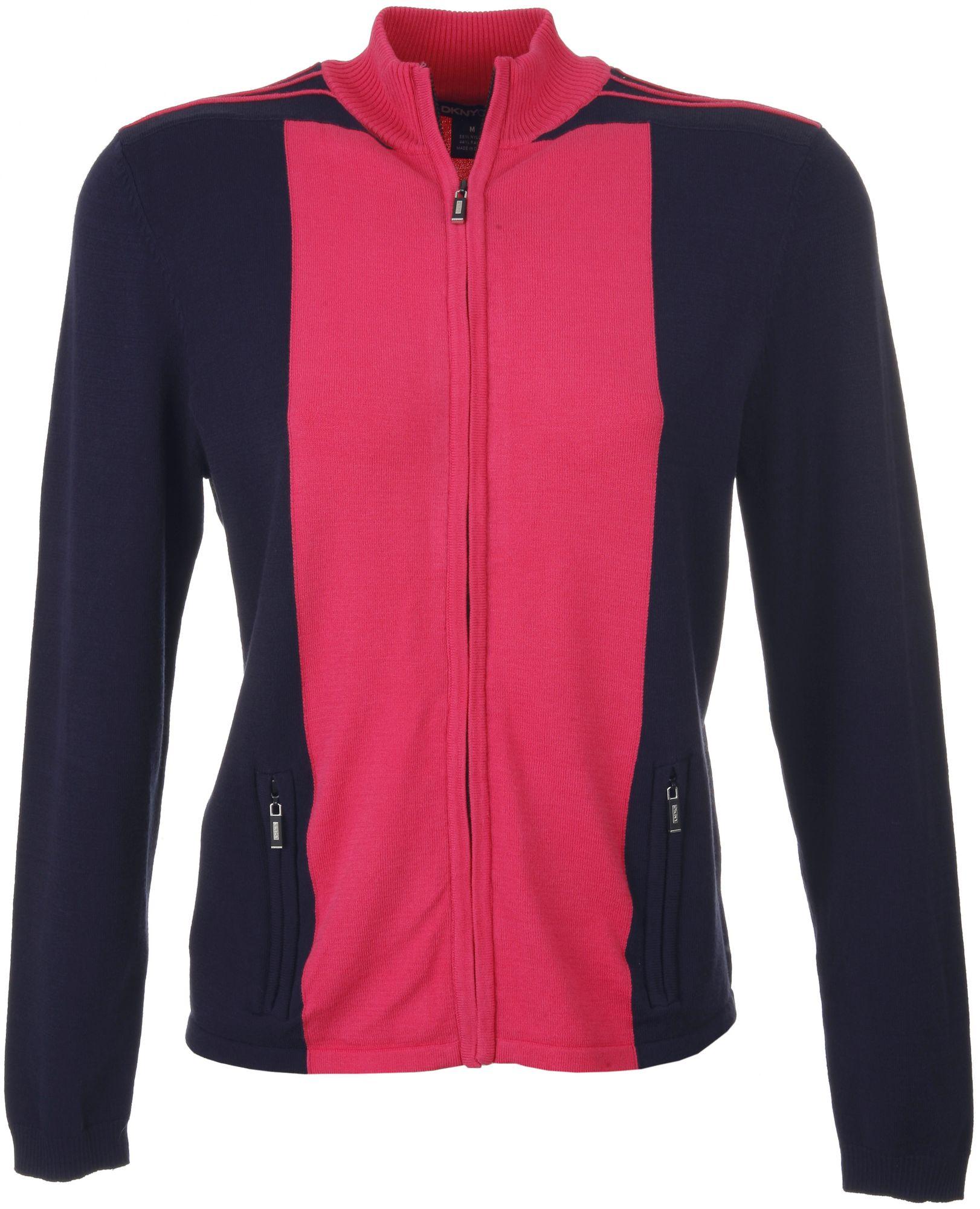 DKNY Women's Vivid and Twilight Full Zip Long Sleeve Sweater
