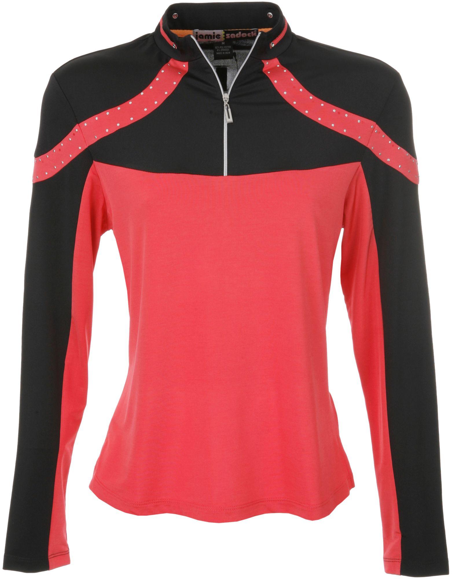 Jamie Sadock Women's Tabasco Red Blocked Long Sleeve Polo