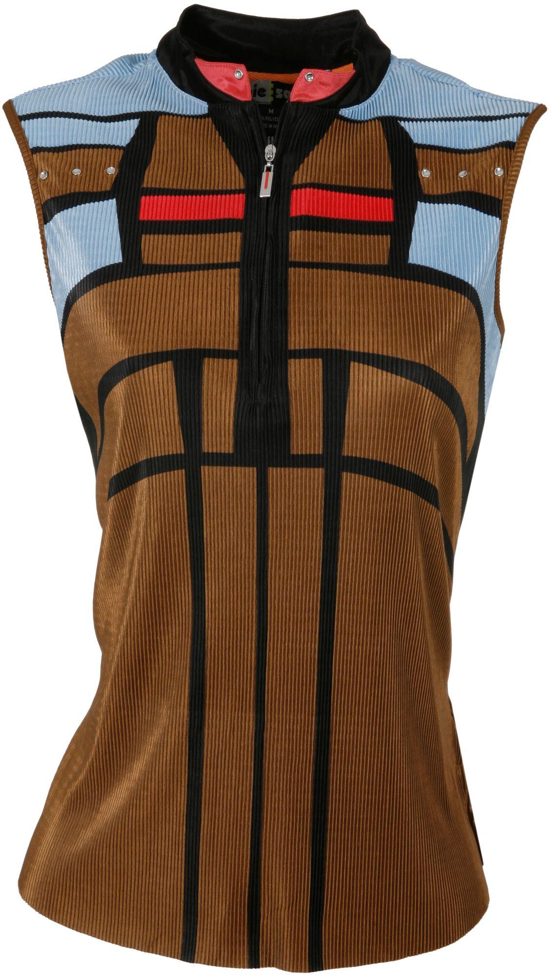 Jamie Sadock Women's Teak Brown ½ Zip Crinkle Sleeveless Polo