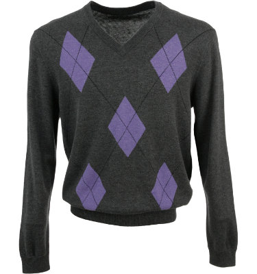 Walter Hagen Collection Men's Argyle V-Neck Long Sleeve Sweater