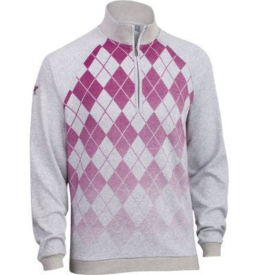 Ashworth Men's French Terry Argyle Long Sleeve Pullover
