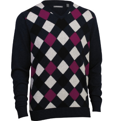 Ashworth Men's Argyle V-Neck Long Sleeve Sweater