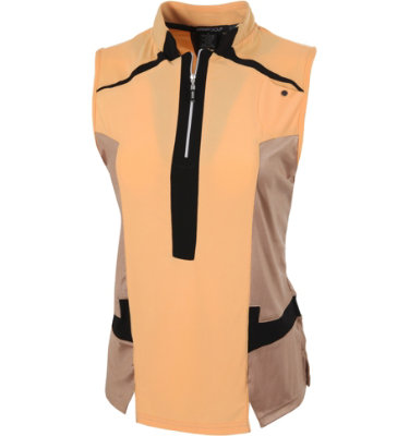 DKNY Women's ¼-Zip Apricot Sleeveless Polo