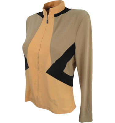 DKNY Women's Full Diagonal Colorblock Apricot Long Sleeve Polo