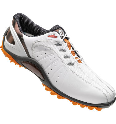 FootJoy Men's FJ Sport Spikeless Golf Shoe - White Smooth/Orange