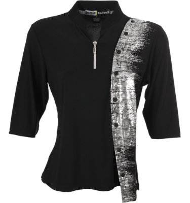 Jamie Sadock Women's Metallic Jaw Print ¾-Sleeve Polo