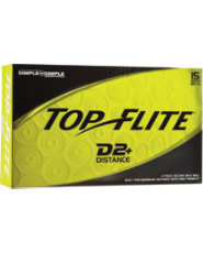 Top Flite D2+ Distance Yellow Golf Balls - 15 pack