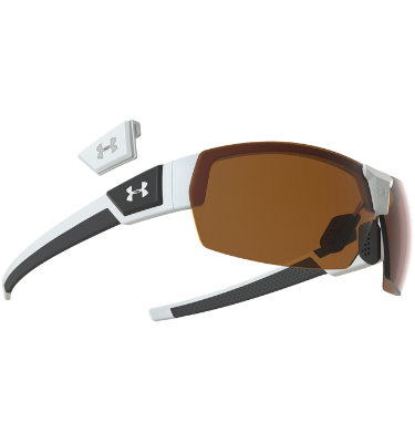 Under Armour Drive Signature Series Sunglasses with Brown Multiflection - Satin White