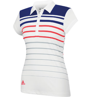 adidas Women's ClimaLite Merch Stripe Short Sleeve Polo