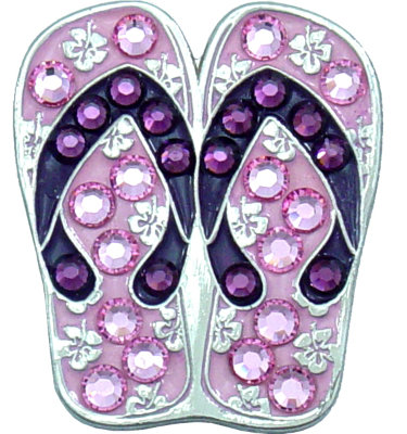Bella Women's Flip Flop Crystal Hat Clip Ball Marker