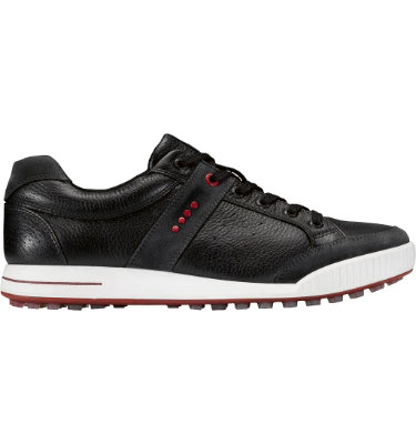 ECCO Men's Street Premiere Golf Shoe - Moonless/Black/Chili Red