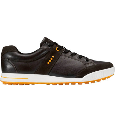ECCO Men's Street Premiere Golf Shoe - Licorice/Coffee/Fanta