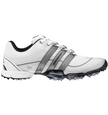 adidas Men's Powerband 3.0 Sport Golf Shoe - White/ Silver