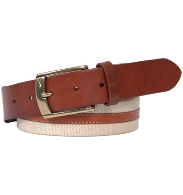 Nike Men's Waxed Canvas and Leather Belt