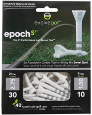 Evolve Golf Epoch S3 White Golf Tees - 40 Count