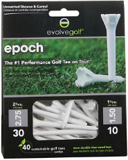 "Evolve Golf Epoch 2 3/4"" White Golf Tees - 50 Count"