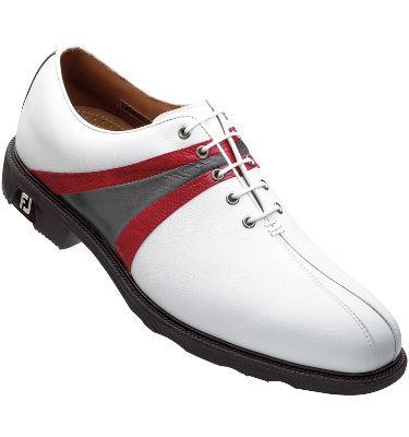 FootJoy Men's Icon Golf Shoe - White/Red/Silver (Disc Style 52131)