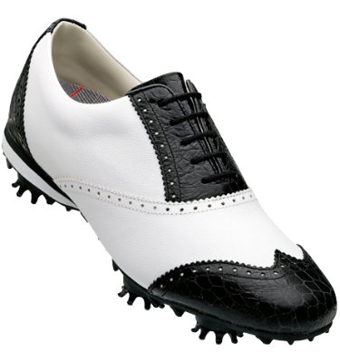FootJoy Women's LoPro Golf Shoe - White/Black Croc FootJoy Women's LoPro Golf Shoe - White/Black Croc (Disc Style 97217)