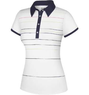 adidas Women's CLIMALITE Painted Stripe Print Short Sleeve Polo