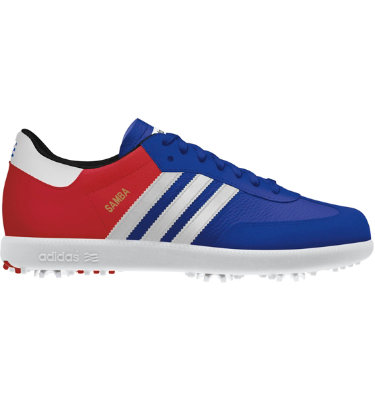 adidas Men's Samba Limited Edition Golf Shoe - Brit Blue/University Red/White
