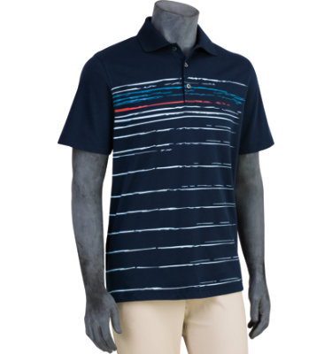 Ashworth Men's Engineered Front Panel Printed Stripe Short Sleeve Polo
