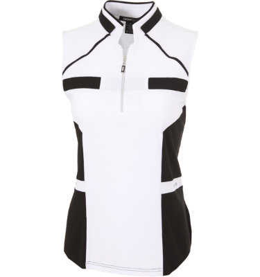 DKNY Women's Center Colorblock Ebony Sleeveless Polo