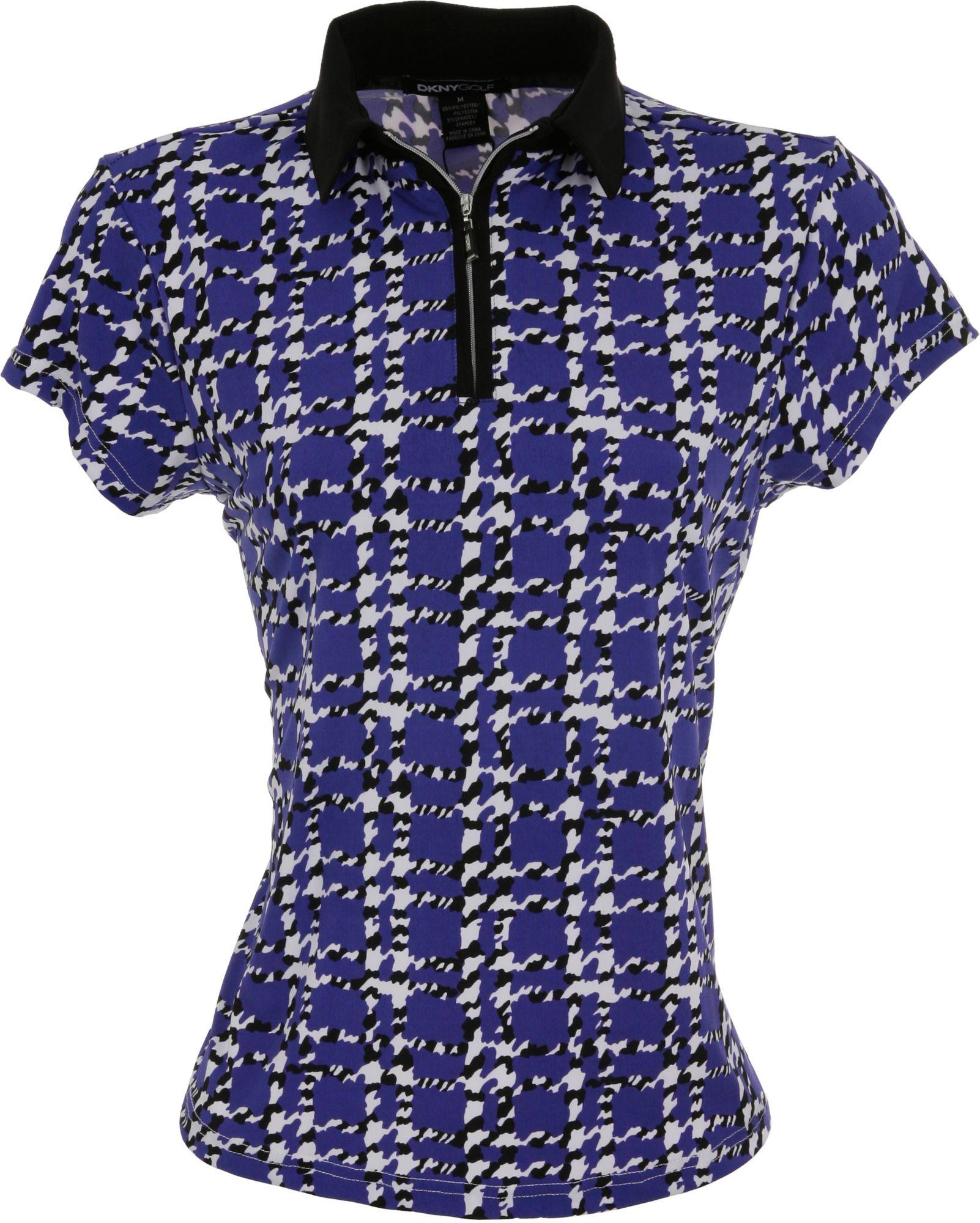 DKNY Women's Houndstooth ¼ Zip Calypso Short Sleeve Polo