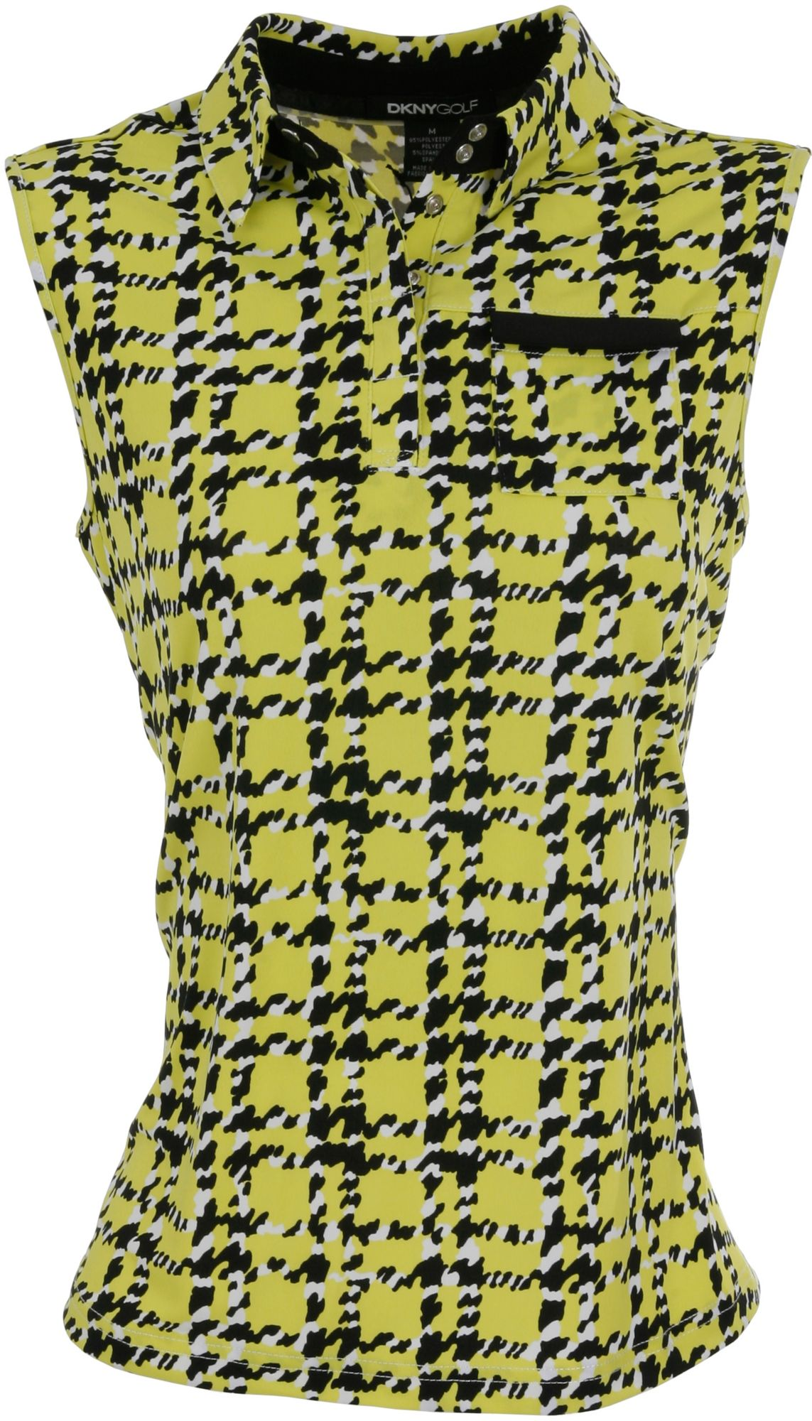 DKNY Women's Houndstooth Pattern Citrine Sleeveless Polo