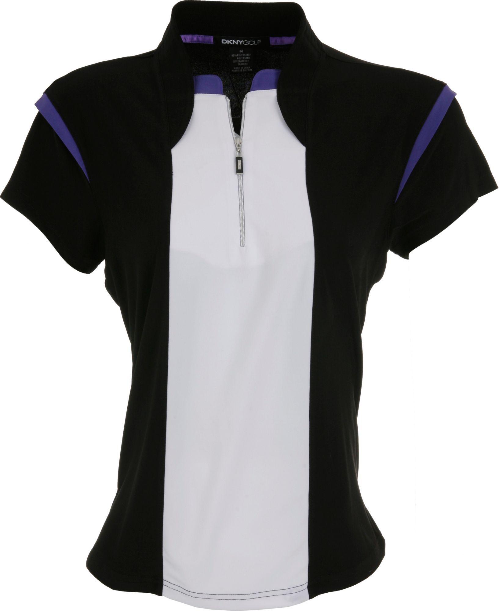 DKNY Women's Zip Blocked Calypso Short Sleeve Polo