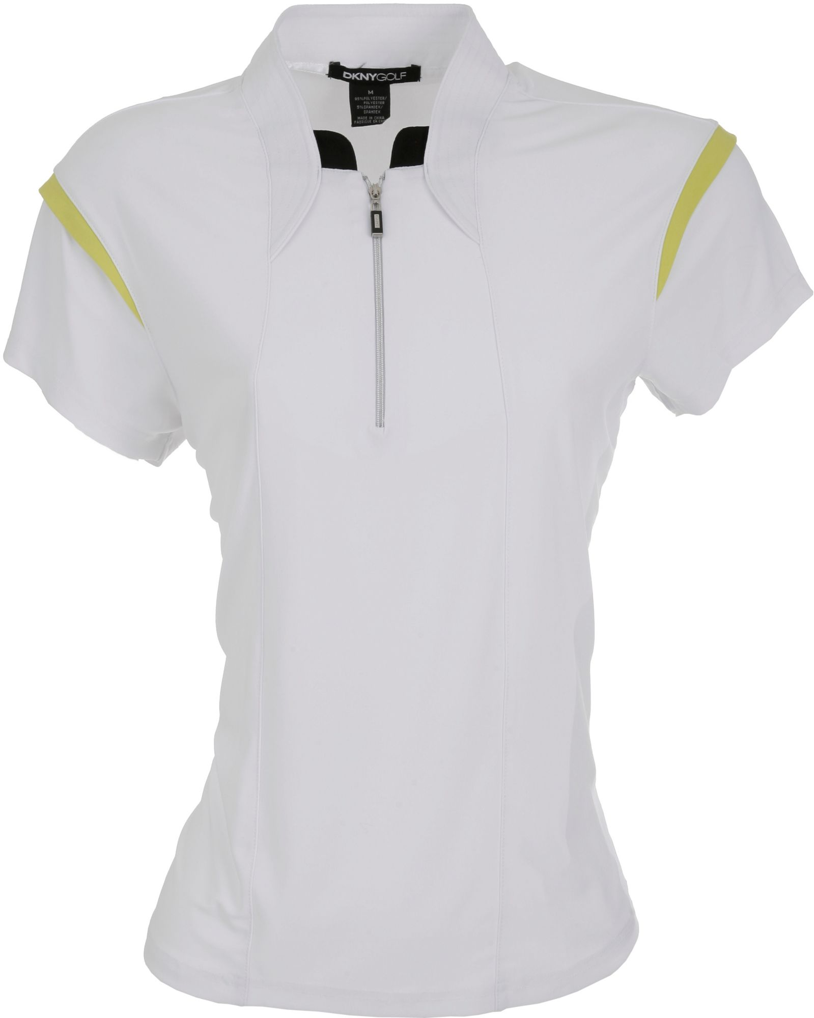 DKNY Women's Zip Blocked Citrine Short Sleeve Polo