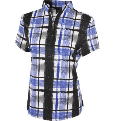 DKNY Women's Plaid Print Ebony Short Sleeve Polo