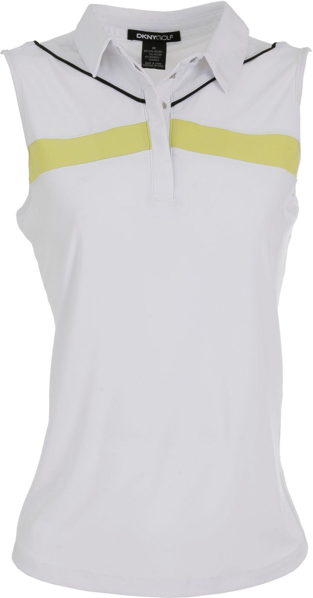 DKNY Women's Pure Based Block Citrine Sleeveless Polo