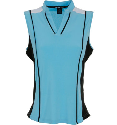 DKNY Women's Modified V-Neck Venice Sleeveless Polo