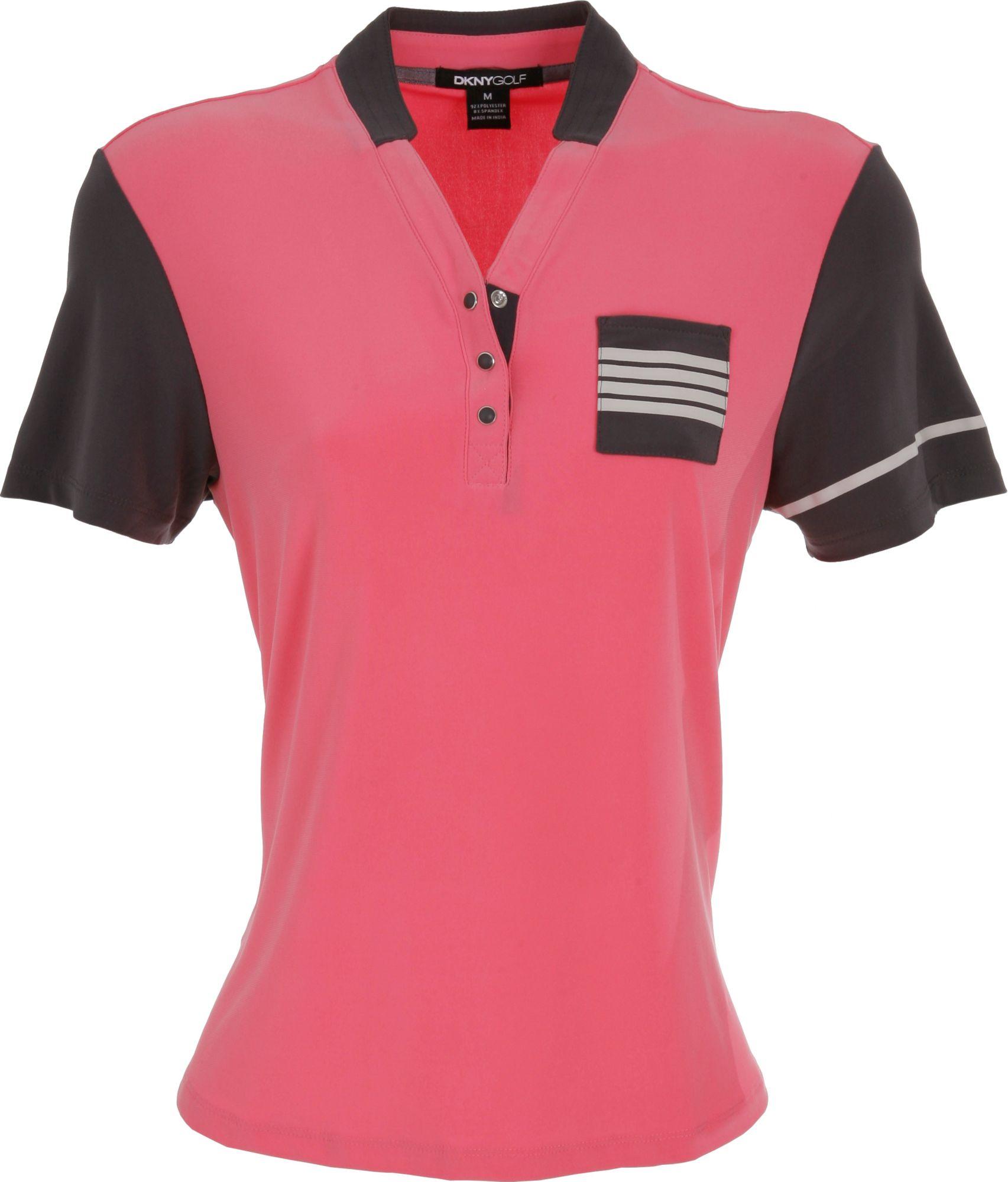 DKNY Women's V-Neck Pocket Romance Short Sleeve Polo