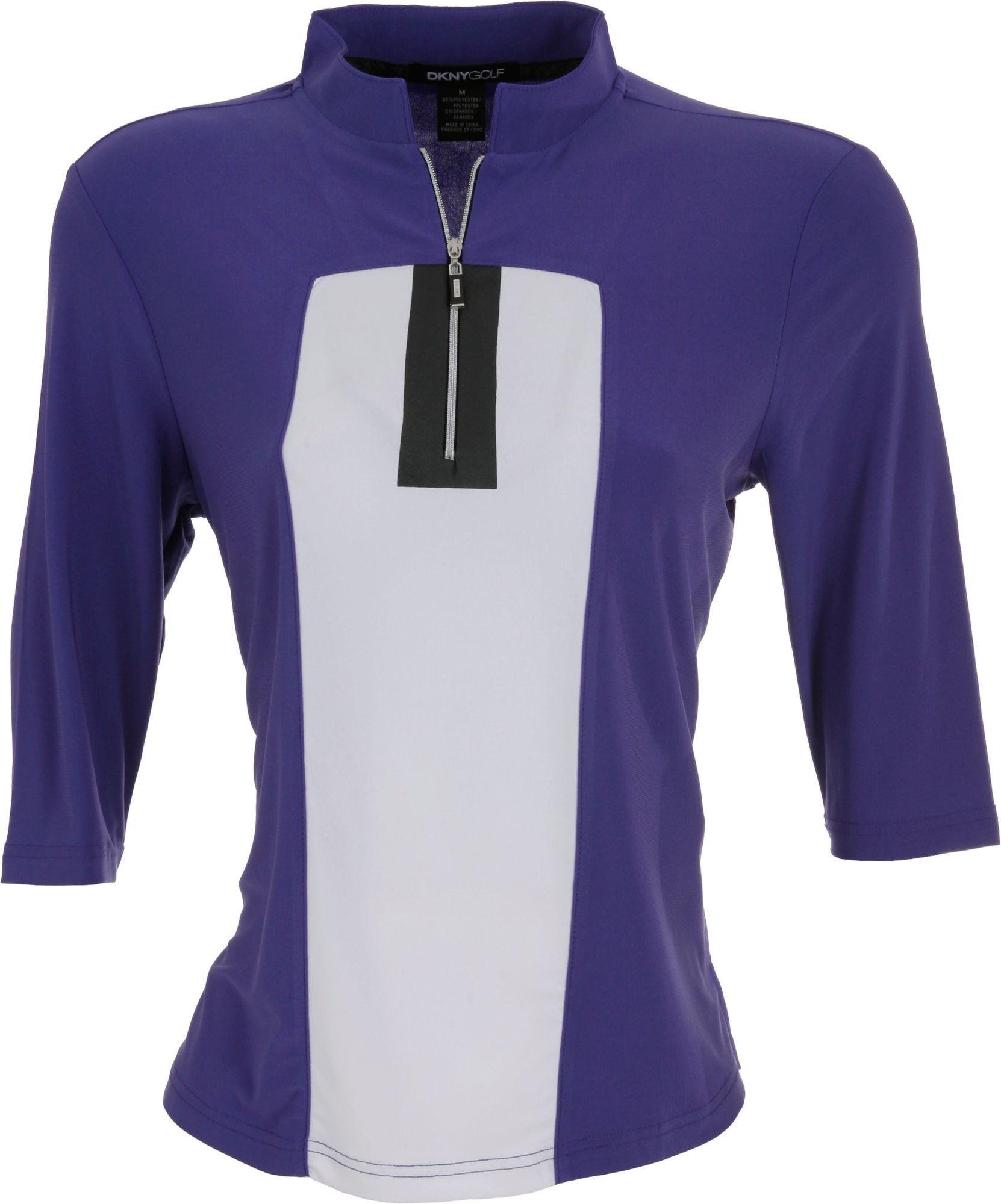 DKNY Women's Zippered Calypso ½ Sleeve Mock