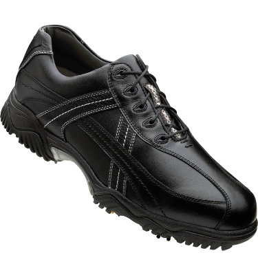 FootJoy Men's Contour Golf Shoe - Black Smooth/Black Tumbled/White Contrast Stitch