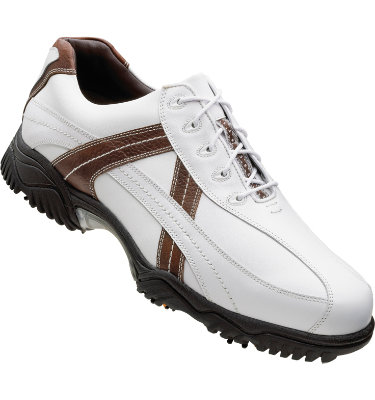 FootJoy Men's Contour Golf Shoe - White Smooth/Dark Brown Tumbled/White Contrast Stitch