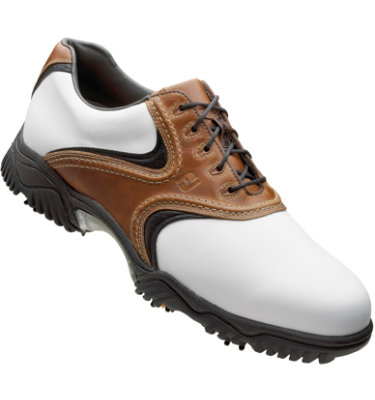 FootJoy Men's Contour Golf Shoe - White Smooth/Taupe Blaze/Black Smooth