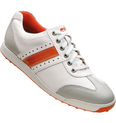 FootJoy Men's Contour Casual Golf Shoe - White Smooth/Orange Smooth/Grey Trim