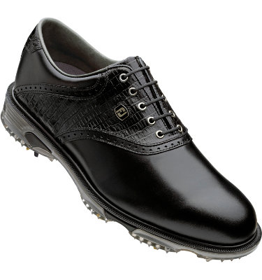 FootJoy Men's DryJoys Tour Golf Shoe - Black Smooth/Black Lizard Print/Black Smooth Underlay
