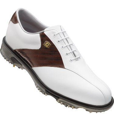 FootJoy Men's DryJoys Tour Golf Shoe - White Smooth/Mahogany Stripe Print(Disc Style 53681)