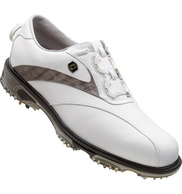 FootJoy Men's DryJoys Tour Golf Shoe - White Smooth/Grey Lizard Print