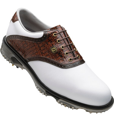 FootJoy Men's DryJoys Tour Golf Shoe - White Smooth/Brown Lizard Print/Dark Brown Smooth Underlay