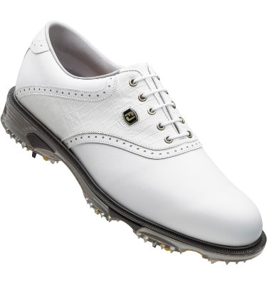 FootJoy Men's DryJoys Tour Golf Shoe - White Smooth/White Lizard Print/White Smooth Underlay