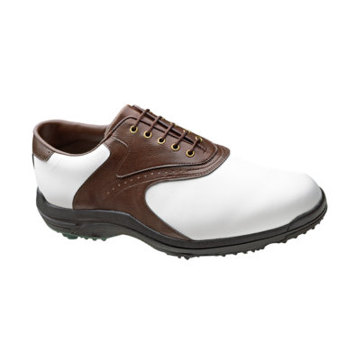 FootJoy Men's GreenJoys Golf Shoe - White Smooth/Dark Brown Textured