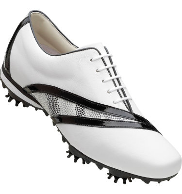 FootJoy Women's LoPro Golf Shoe - White Soft Milled/Black & Grey Dots