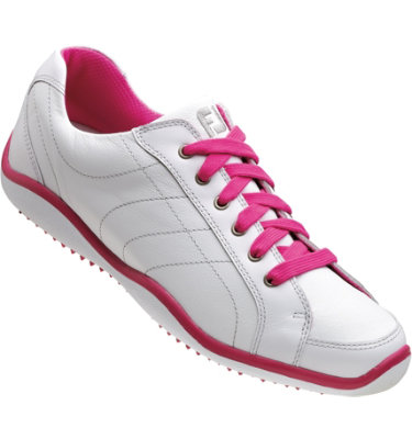 FootJoy Women's LoPro Casual Golf Shoe - White/Fuchsia