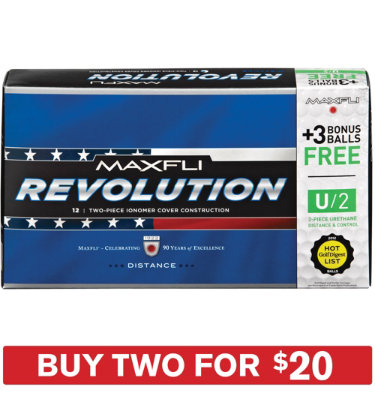 Maxfli Revolution Distance Golf Balls + U/2 Bonus Pack - 15 pack