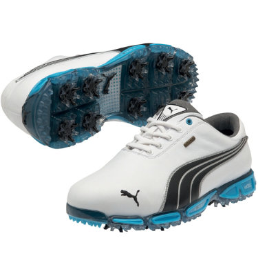 PUMA Men's Cell Fusion 3 Pro Golf Shoe - White/Black/Vivid Blue