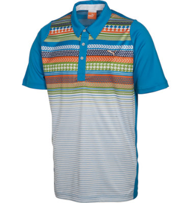 PUMA Men's Duo-Swing Fair Isle Stripe Short Sleeve Polo